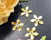 FG-FG-08066- Nickel Free, Lead Free, raw brass, 5-leaf beads cap, 24 pcs