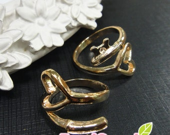 FN-RB-02021 - Nickel free , Gold plated, Adjustable Heart  ring, 4 pcs