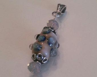 Lampwork Shades of Opal Blue Beige Pendant Slide  Artist Glass Swarovski Crystal Sterling Silver Handmade