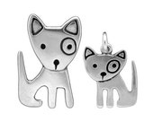 Mother Daughter Spot Dog Necklaces - Set of Two Sterling Silver Dog Pendants