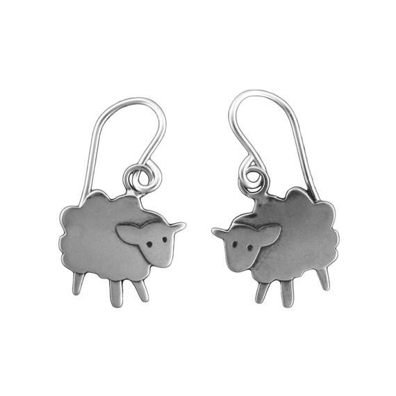Sheep Earrings - Sterling Silver Lamb Earrings