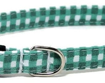 XS Dog Collar - Soft Green Gingham - Extra Small, Teacup, Miniature - Fancy, Soft and Handmade