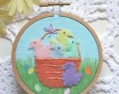 Embroidered Art Hoop - Basket of Peeps