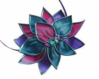 Pretty Peacock lotus necklace/brooch