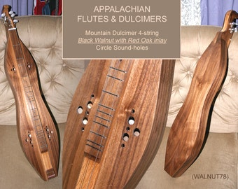 Mountain Dulcimer, 4-string Walnut Hour-glass, with Custom Case, Sound-hole choices, and optional ELECTRIC