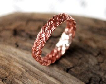 Celtic Copper Braided Midi Ring Size 3 Solid Bright Shiny Copper Braid Handmade Thin Lightweight Band for Arthritis Finger Joint Pain