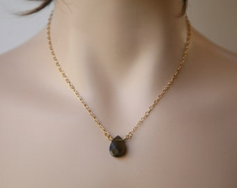 Dainty and Simple Chocolate Brown Smokey Quartz Briolette Minimalist Necklace