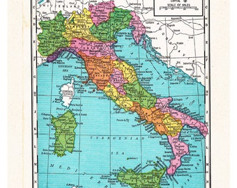 map of Italy from the 1920's, unique gift or home decor, a printable digital map,  no. 512.