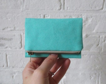 Aqua Forester card wallet, small light teal canvas pocket size wallet, ready to ship