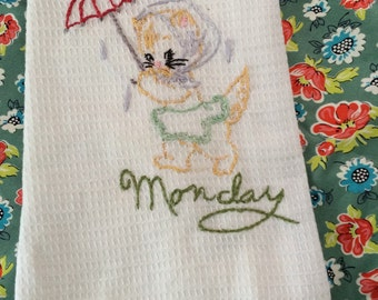 Embroidered Dish Towel- Monday
