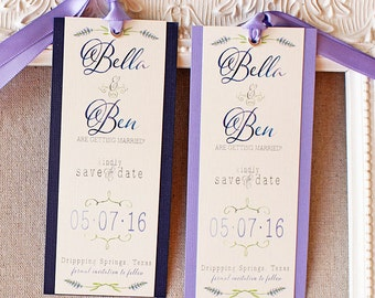 Lavender Save the Date Bookmark - watercolor save the date - garden wedding - book mark save the date - botanical wedding - rustic wedding