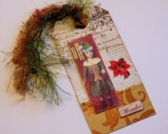 Collaged Shipping Tag - Altered Art - Vintage Whimsical Christmas - FREE US SHIPPING