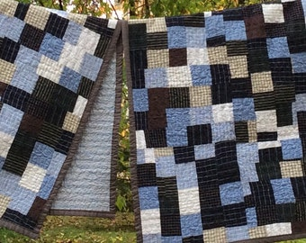 pair of grampa quilts -- 2 lap quilts to memorialize those you love -- collage of memories