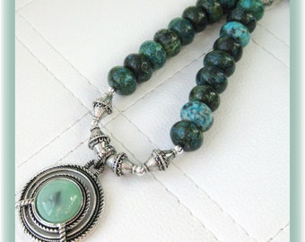 Silver and Green Inlay Pendant with Turquoise Gemstone Necklace
