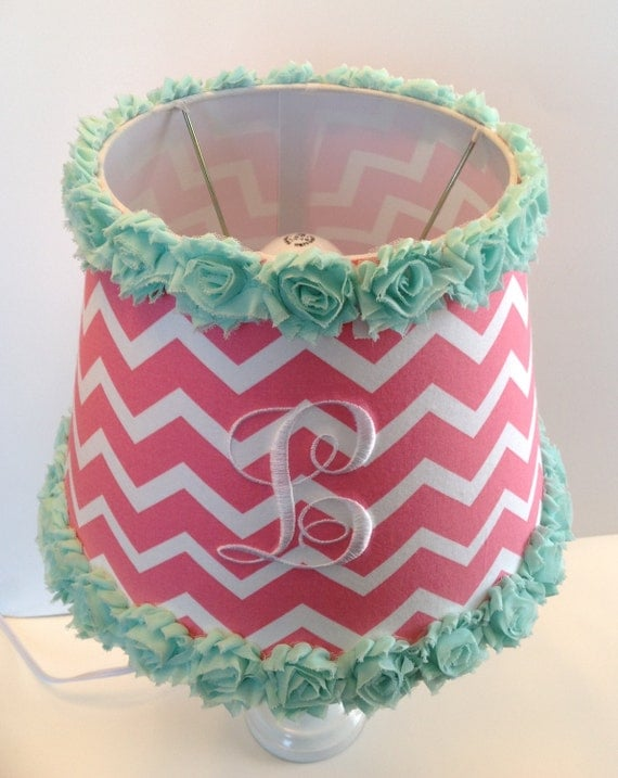 monogrammed lamp shade coral chevron with mint green rose. Black Bedroom Furniture Sets. Home Design Ideas