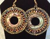Beaded Earrings - Small Abalone Shell Seed Bead Hoop Earrings - Handmade Beadwork Jewelry