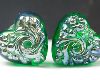 Romance - Lampwork Glass Heart Bead Pair by Clare Scott SRA Lustre Emerald Green
