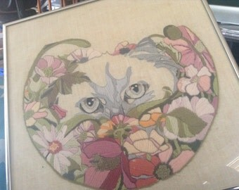Vintage framed embroidery cat picture crewel pale cat eyes picture silver chrome frame needlework