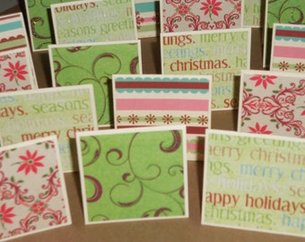 Poinsettia Party  Note Cards / Gift Tags / Place Cards Set Of 20