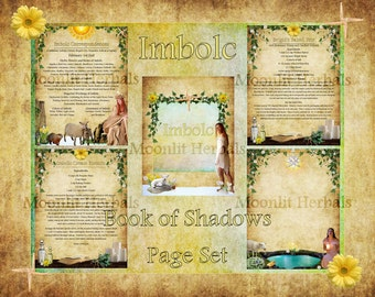 Imbolc Digital Book of Shadows Pages - Set of 5 - Witch's Grimoire, Candlemas, Sabbat, Kitchen Witch Recipes, Goddess Brigid, Spell Pages
