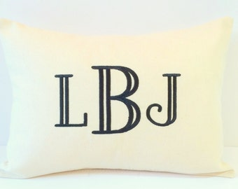Monogram Pillow Cover made to fit a 12x16 Decorative Throw Pillow. Custom Personalized Gift. Dorm Decor. Baby Gift. Wedding Gift.