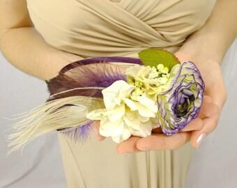 White and Plum Flower Headband, Bridal Headband, Rustic Bridal Headband, Purple and White Boho Flower Headband, Boho Headband, Boho Wedding