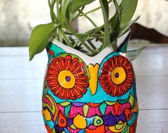 GORGEOUS doodled owl planter utensil holder porcelain pretty