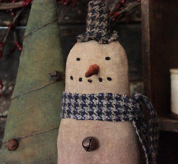 Primitive Folk Art Christmas Snowman and Tree Make Do's, Christmas ...