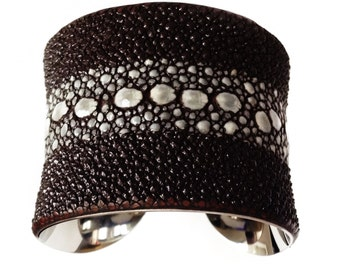 Chocolate Brown Multiple Spine Stingray Cuff Bracelet - by UNEARTHED