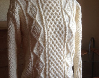 Cream Aran Ladies-Womens Cable Long Sleeve, Crew Neck Sweater Ready to Ship or Custom Make