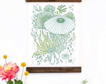 Wall Art - Hanging Canvas Art Print - Inspired by Vintage Botanical Charts and Vintage Science Posters, Fine Art Print, Art Poster - Dash