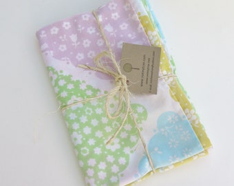 """Floral Patchwork Pillowcase, Pastel Flowers, Pink Green Blue, Crafting Supply, Upcycled Fabric, girl fabric, 19 1/2"""" by 29"""", tree hugger"""