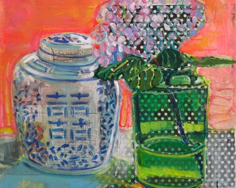 Ginger Jar with Hydrangea original mixed media still life painting by Polly Jones