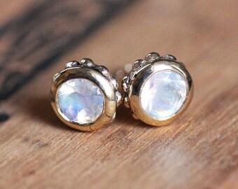 Rainbow moonstone stud earrings gold, 14k gold stud earrings, june birthstone earring, fine jewelry, gold earring studs, Wrought custom