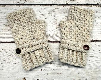 Crocheted Fingerless Womens Gloves Mittens - Chunky Fingerless Gloves in Wheat Cream - Wheat Gloves Wheat Mittens Womens Accessories