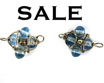 Vintage Light Blue Glass Beaded Wire Wrapped Connector Charms (20X) (B523) SALE - 50% off