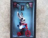 Bunny Bike sculpture shadowbox
