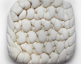 Hand knit extra thick chunky wool merino wool felt trivet