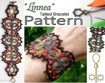"Tatting Pattern bracelet ""Linnea"" PDF pattern Instant Download"