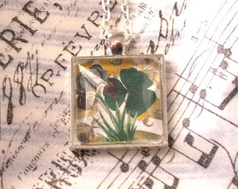 "Shamrock Shamrock Collage Necklace Pendant w Iris, Daisy in Silvertone Setting 24"" Chain.  Good Luck,  St. Patrick's Day Irish BFF Gift"