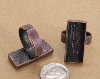 40pcs 12x27mm   antique copper  Pewter blank bezel rectangle ring