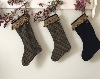 Christmas Stockings - Simple and Sophisticated Black and Gold Stockings with Beads