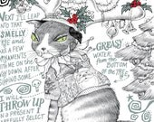 Holiday Cat Card - Xmas Conniving Cat Crazy, Funny Holiday Story - Hairballs in Your Slippers! - Decorated Grumpy Cat Original Story and Art