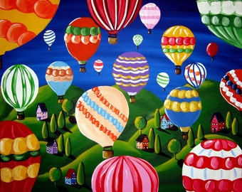 Hot Air Balloons Colorful Fun Whimsical Folk Art Giclee Print
