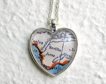 Seville Map Necklace - Spain - Choose your favorite map out of 22 map choices