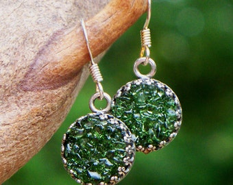 Recycled Vintage Olive Green Wine Bottle Druzy Glass Earrings