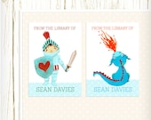 Personalized Bookplates - Knight & Dragon - Set of 18 - childrens bookplates teacher knight medieval