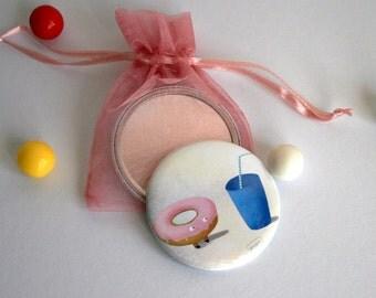 Cute donut love - Pocket mirror