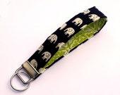 Key Lanyard - Key Fob - Fabric Key Ring -- Elephants on Black