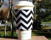 FREE SHIPPING UPGRADE with minimum -  Fabric coffee cozy / cup sleeve / coffee sleeve  / teacher gift / Black + White Chevron